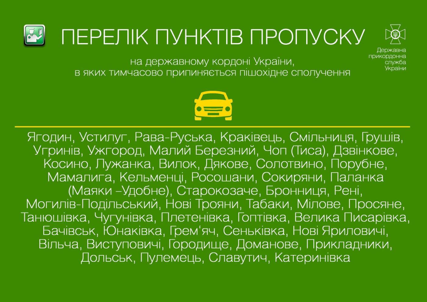Інформація з пунктів пропуску на кордонах: які працюватимуть та винятки, фото-1, Державна прикордонна служба України