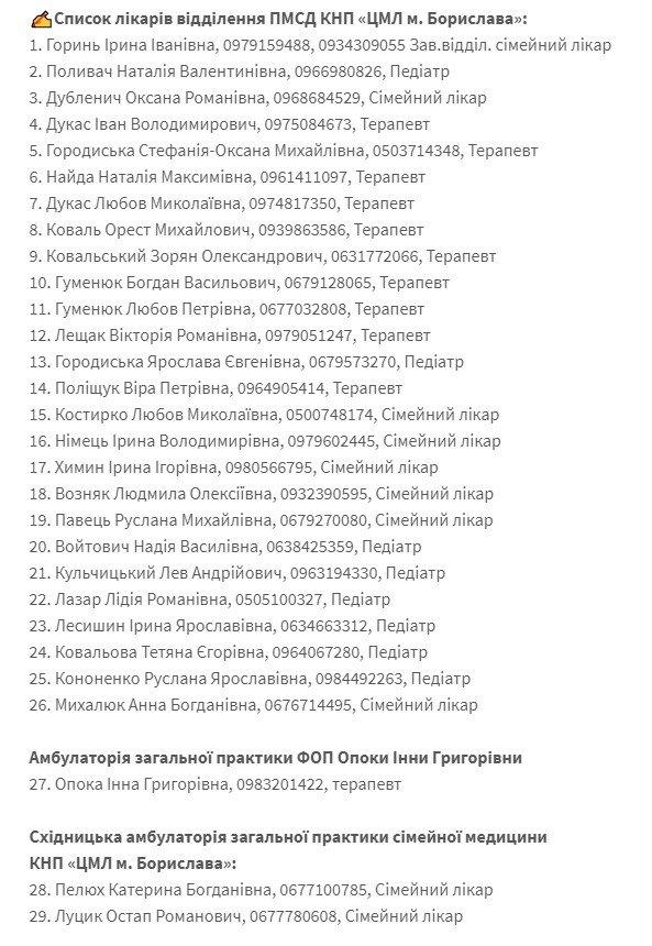 Контакти лікарів первинної ланки Борислава та Східниці, фото-1, фото - Ігор Яворський